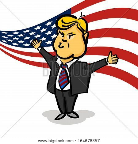 January 10, 2017: Backdrop American flag. Cartoon character portrait Donald Trump thumb up giving a speech white background. Positive caricature President of USA.