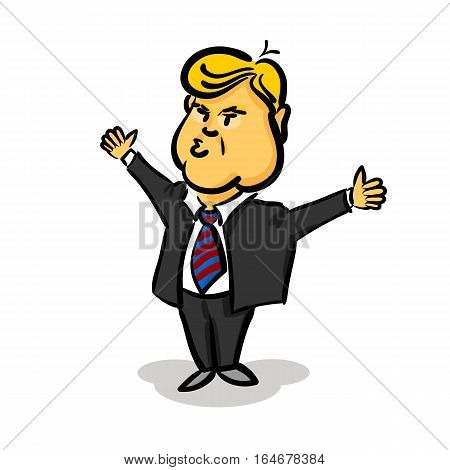 January 10, 2017: Cartoon character portrait Donald Trump thumb up giving a speech white background. Positive caricature President of USA.
