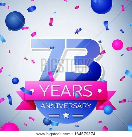 Seventy three years anniversary celebration on grey background. Anniversary ribbon