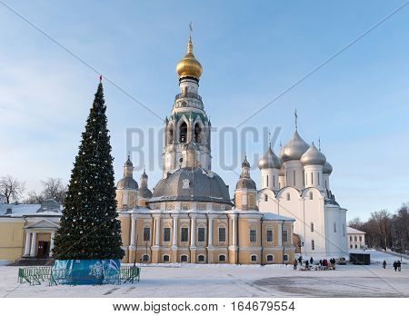 Vologda kremlin. Journey to the North of Russia. Resurrection Cathedral and bell tower, Vologda Kremlin, Russia. Photo in frosty sunny winter day. HD.