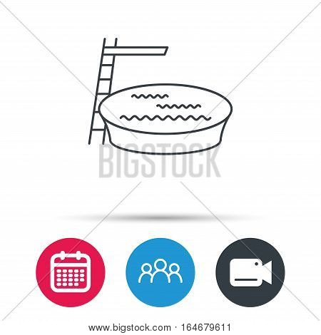 Swimming pool icon. Jumping into water sign. Group of people, video cam and calendar icons. Vector