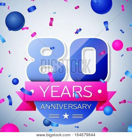 Eighty years anniversary celebration on grey background. Anniversary ribbon