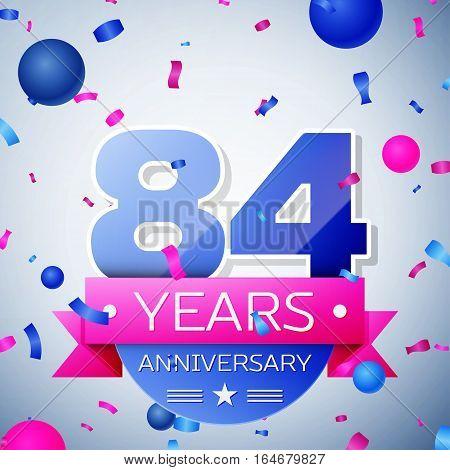 Eighty four years anniversary celebration on grey background. Anniversary ribbon