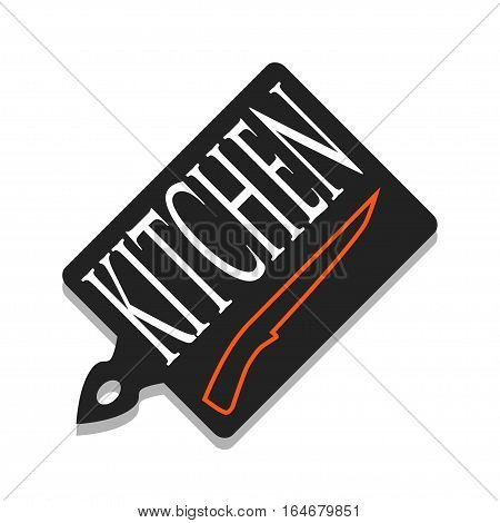 Illustration cutting board and knife as a symbol of the kitchen.