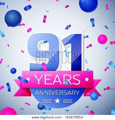 Ninety one years anniversary celebration on grey background. Anniversary ribbon