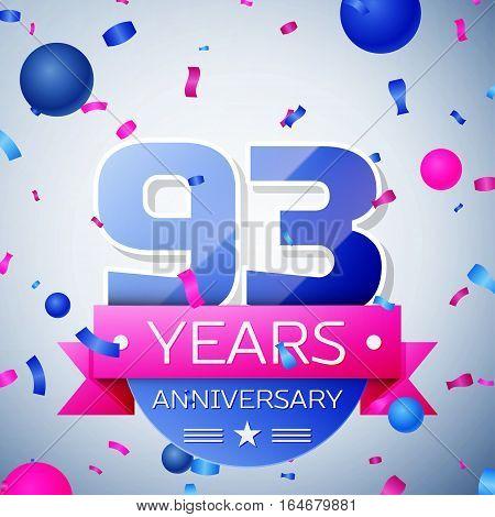 Ninety three years anniversary celebration on grey background. Anniversary ribbon