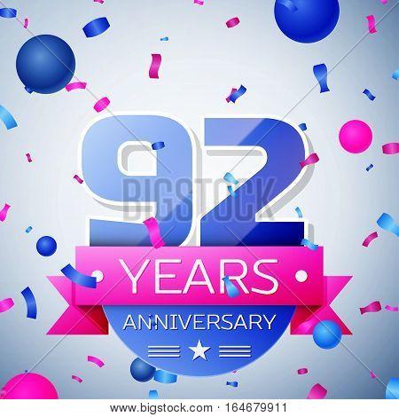 Ninety two years anniversary celebration on grey background. Anniversary ribbon