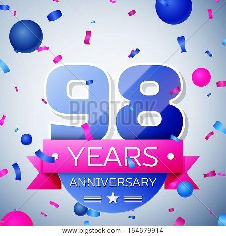 Ninety eight years anniversary celebration on grey background. Anniversary ribbon