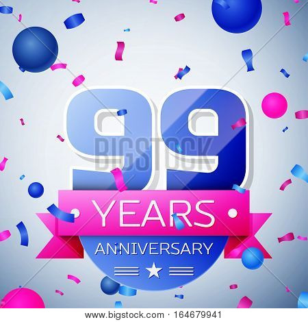 Ninety nine years anniversary celebration on grey background. Anniversary ribbon