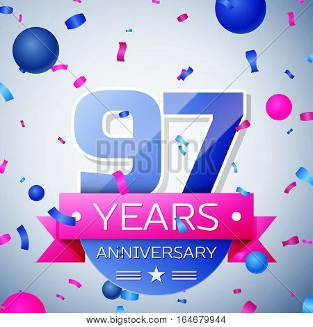 Ninety seven years anniversary celebration on grey background. Anniversary ribbon