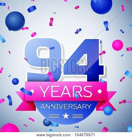Ninety four years anniversary celebration on grey background. Anniversary ribbon