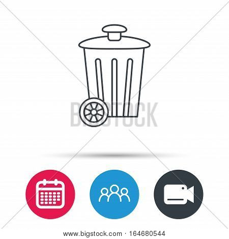 Recycle bin icon. Trash container sign. Street rubbish symbol. Group of people, video cam and calendar icons. Vector