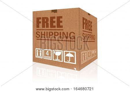 Free shipping cardboard box isolated on white background