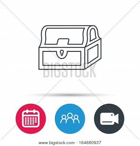 Treasure chest icon. Piratic treasury sign. Wealth symbol. Group of people, video cam and calendar icons. Vector