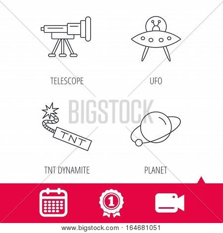Achievement and video cam signs. Ufo, planet and telescope icons. TNT dynamite linear sign. Calendar icon. Vector