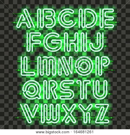 Glowing green Neon Alphabet with letters from A to Z. Shining and glowing neon effect. Every letter is separate unit with wires, tubes, brackets and holders that can be combined with other.