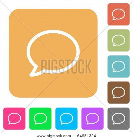 Comment bubble flat icons on rounded square vivid color backgrounds.