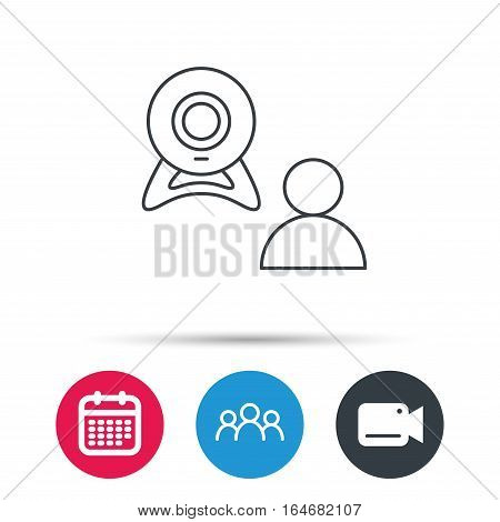 Video chat icon. Webcam chatting sign. Web conference symbol. Group of people, video cam and calendar icons. Vector