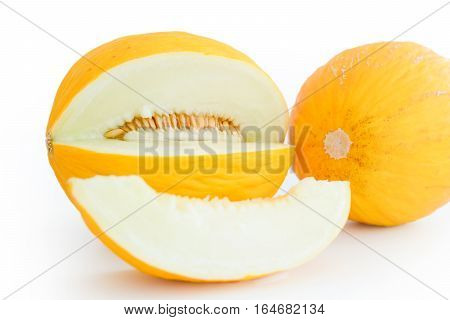 Honeydew melon or cantaloupe fruit sliced on white background