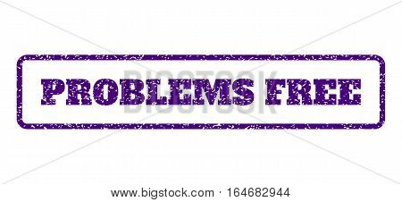 Indigo Blue rubber seal stamp with Problems Free text. Vector tag inside rounded rectangular frame. Grunge design and dust texture for watermark labels. Horisontal sticker on a white background.