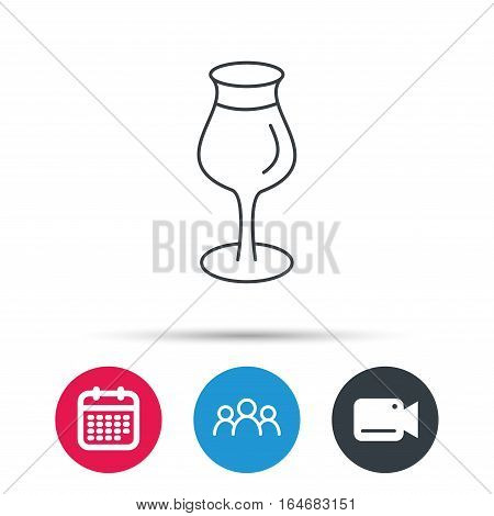 Wine glass icon. Goblet sign. Alcohol drink symbol. Group of people, video cam and calendar icons. Vector