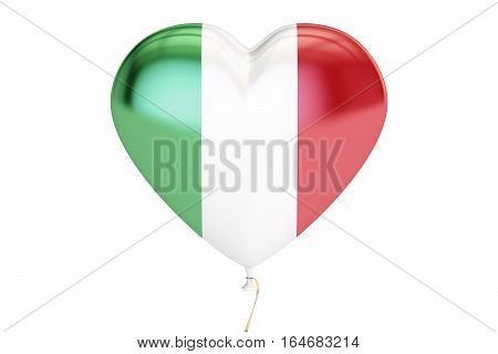 balloon with Italy flag in the shape of heart 3D rendering