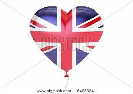 balloon with United Kingdom flag in the shape of heart 3D rendering