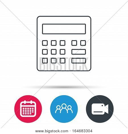 Calculator icon. Accounting sign. Balance calculation symbol. Group of people, video cam and calendar icons. Vector