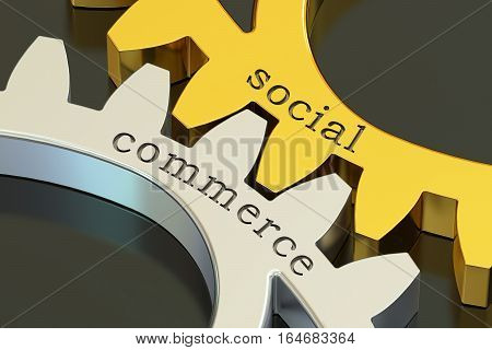 social commerce concept on the gearwheels 3D rendering