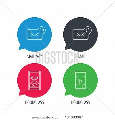 Colored speech bubbles. Mail, e-mail and hourglass icons. E-mail inbox linear sign. Flat web buttons with linear icons. Vector