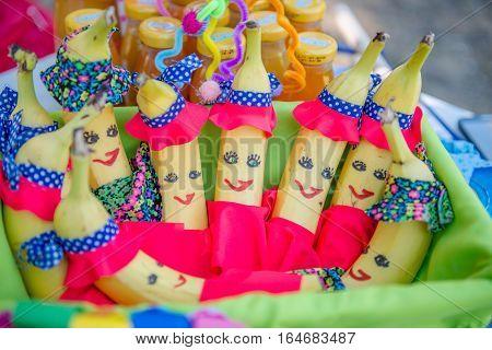 Birthday party decoration fun girl and boys bananas