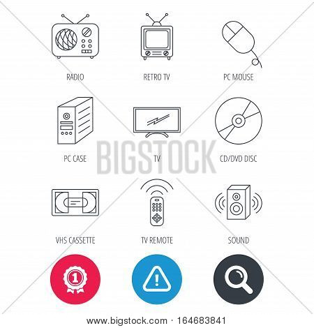 Achievement and search magnifier signs. Retro TV, radio and DVD disc icons. PC mouse, VHS cassette and sound speaker linear signs. Hazard attention icon. Vector