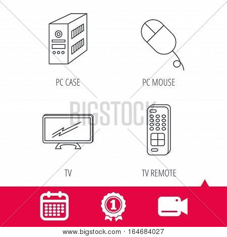 Achievement and video cam signs. PC mouse, TV remote and computer icons. Widescreen TV linear sign. Calendar icon. Vector