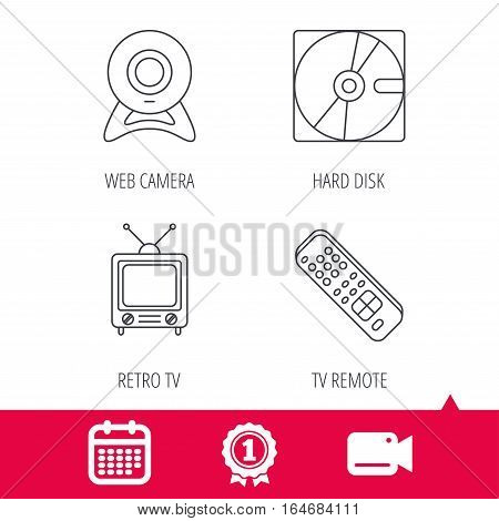 Achievement and video cam signs. Web camera, retro TV and hard disk icons. TV remote linear sign. Calendar icon. Vector