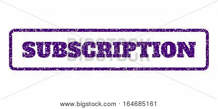 Indigo Blue rubber seal stamp with Subscription text. Vector tag inside rounded rectangular banner. Grunge design and dirty texture for watermark labels. Horisontal sticker on a white background.