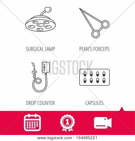 Achievement and video cam signs. Drop counter, capsules and surgical lamp icons. Peans forceps linear sign. Calendar icon. Vector