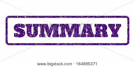 Indigo Blue rubber seal stamp with Summary text. Vector caption inside rounded rectangular shape. Grunge design and unclean texture for watermark labels. Horisontal sticker on a white background.