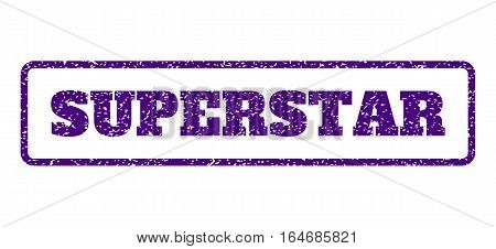 Indigo Blue rubber seal stamp with Superstar text. Vector caption inside rounded rectangular shape. Grunge design and scratched texture for watermark labels. Horisontal emblem on a white background.