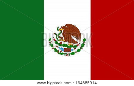 flat mexican flag  in the colors green, red and white