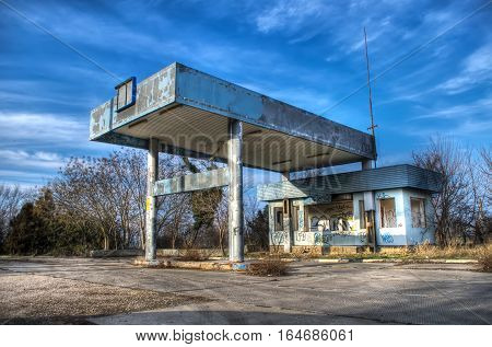 An abandoned gas station in the Crimea ex-TNK