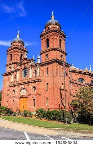 Asheville NC, USA - September 12: The Bascilca of Saint Lawrence church on Haywod Street in Asheville, North Carolina