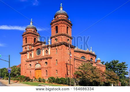 Asheville NC, USA - September 12: The Bascilca of Saint Lawrence church on Haywod Street in Asheville NC
