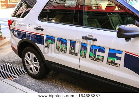 Asheville NC, USA - September 12: Close up of a city Police vehicle in downtown Asheville, North Carolina