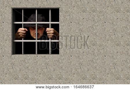 Prisoner in jail with window 3D illustration