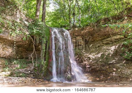 Waterfall on the river Khodz. Russia Krasnodar Krai