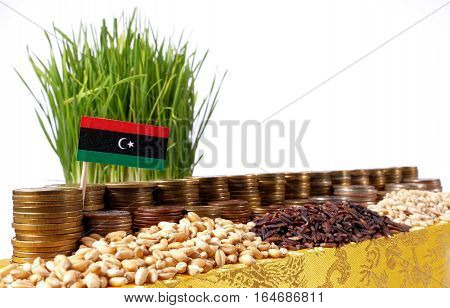 Libya Flag Waving With Stack Of Money Coins And Piles Of Wheat And Rice Seeds