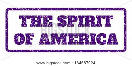 Indigo Blue rubber seal stamp with The Spirit Of America text. Vector caption inside rounded rectangular shape. Grunge design and unclean texture for watermark labels.