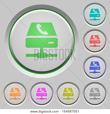 VoIP services color icons on sunk push buttons