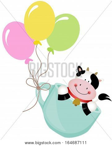 Scalable vectorial image representing a cute cow in teacup with balloons, isolated on white.