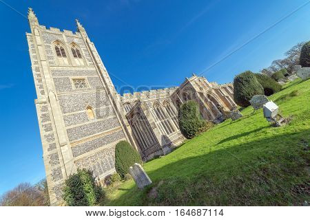 Long Melford Church in Long Melford, Suffolk on a cold, sunny winter's day.